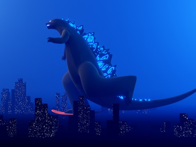 Godzilla: sK8ing of the Monsters godzilla skateboarding skateboard blue story stop motion render motion magical glow animatedgif fantasy blender dinosaur b3d animation animated after effects design illustration