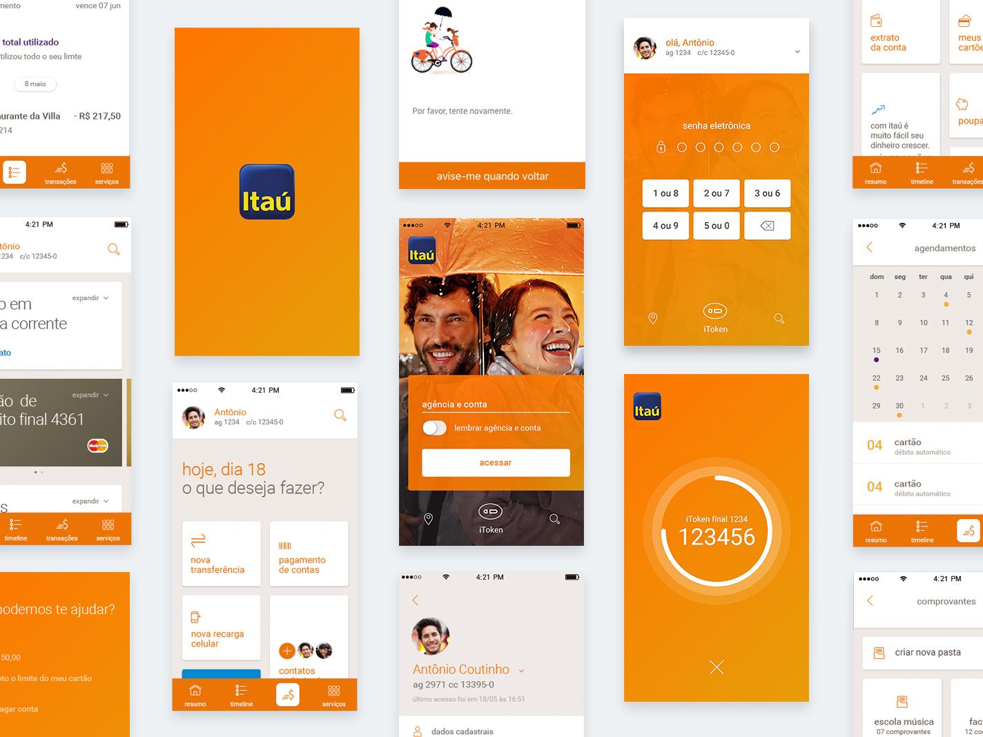 App Itaú bank finance branding ui orange interaction design app interface
