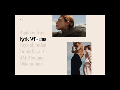 Peridot Mgmt – Photographer folio & bio hover scroll web design lifestyle beauty agency photography photographer ux ui website typography portfolio grid layout minimal design fashion motion