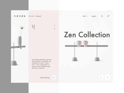 nendo home studio projects work scroll slider minimal web layout product hero home