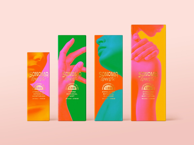 Sonoma Specific - Packaging packaging line skin care vibrant color vibrating fluorescent letterpress foil identity packaging logo typography stout branding san francisco