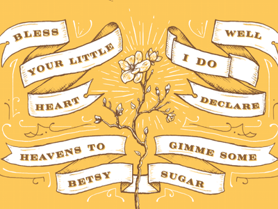 Southern Belle hand drawn illustration typography two color ribbons poster print nashville