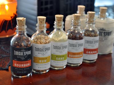 Tonguespank packaging typography spices hot flavor small batch mmmm whiskey bottle label san francisco