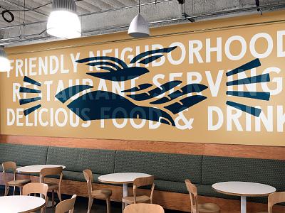 Crashpad Mural typography illustraiton hand painted mural branding stout seattle restaurant branding cafe branding