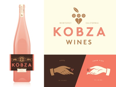 Kobza Wine branding identity logo mark type wine packaging label san francisco cork monterey