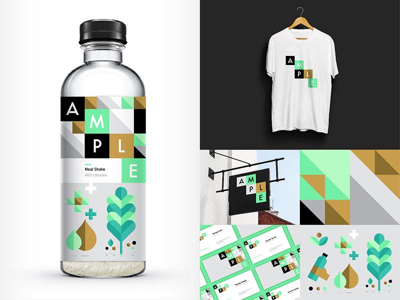 Ample energy meal logo illustration branding packaging