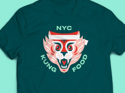Kung Food tiger shirt t shirt restaurant stout logo branding san francisco illustration