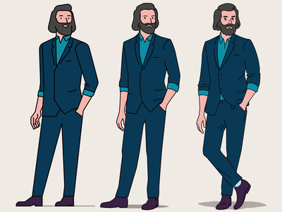 men in suits: 3 levels of detail vector illustration ligne claire personality character design illustration style stylisation