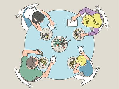 Family vector art family lunch dinner characterdesign digital detox health insurance illustration