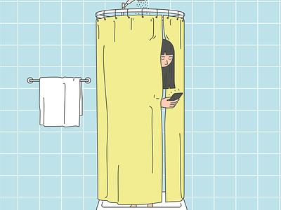Shower cartoon character designs illustration digital detox character design health insurance shower