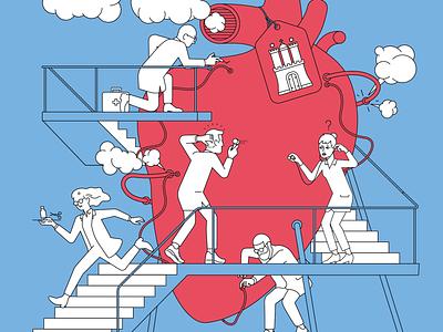 Hamburgs Hospitals die zeit hamburg hospital medicine character design illustration
