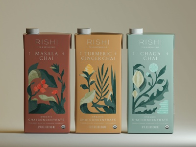 Chai Concentrate packaging design chai botanical floral illustration flowers