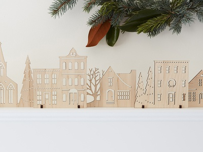 Wood Holiday Village  laser cut village wood holiday