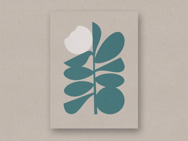 Wallflower poster art abstract plant leaves bloom modern scandinavian minimal flower poster
