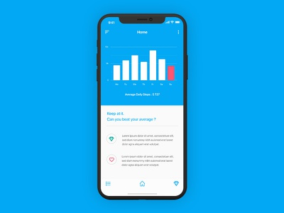 Activity Tracker App Concept health steps fitness lifestyle blue user interface ui iphone x iphone tracker activity app