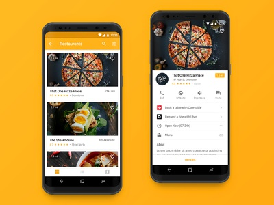 Restaurants Android App discount coupon restaurant food pizza yellow app android google material design ui