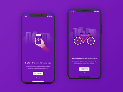 RealScape Onboarding Concept purple material app iphone onboarding