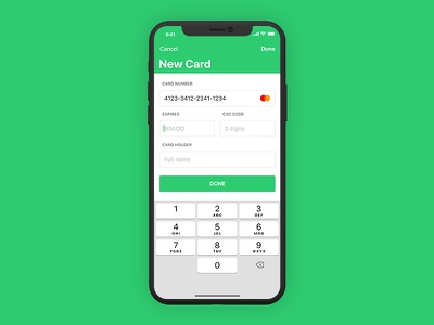 iOS Finance App - Add Card transaction credit mobile money app iphone ui finance green design ux type