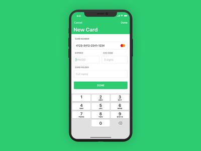 iOS Finance App - Add Card transaction credit mobile money app iphone ui finance green design ux type