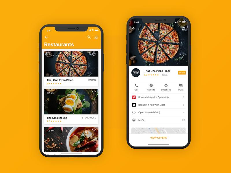 Restaurants App iOS mobile user interface pizza food food app ui app design iphone ios material google interace yellow discount