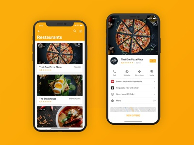 Restaurants App iOS mobile user interface pizza food food app ui app design iphone ios material google interace yellow discount