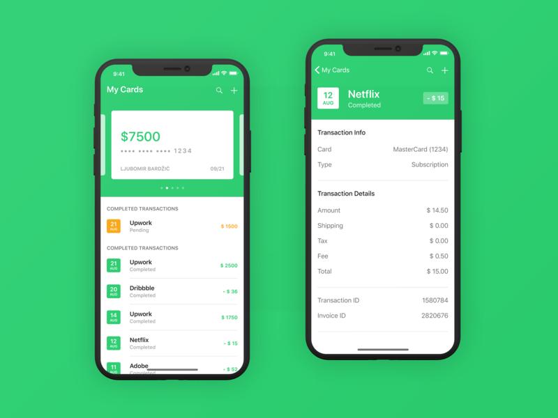 iOS Finance App - Main Screen & Info green education class typography illustration credit user interface mobile iphone design app ui