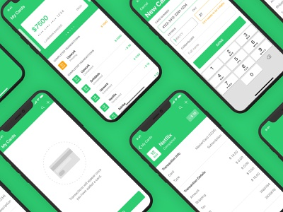 iOS Finance App - Full App transaction keyboard input info empty state yellow interface ux typography illustration ui app design iphone mobile user inteface credit class education green