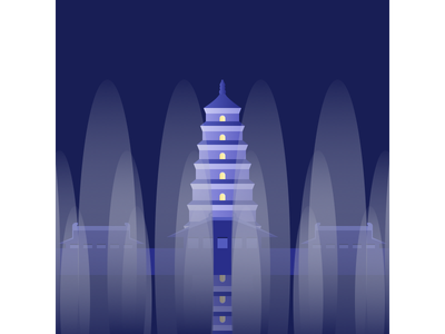 Xi 'an - Giant Wild Goose Pagoda flat design vector illustration