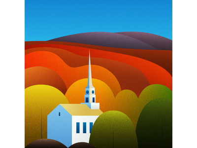 New England - Vermont vector illustration flat design