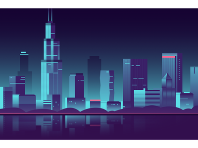 Chicago skyline from Adler Planetarium Pier vector illustration flat design