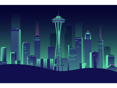 Seattle Skyline from Kerry Park vector illustration flat design