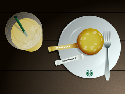 Still Life - Starbucks Table vector illustration flat design