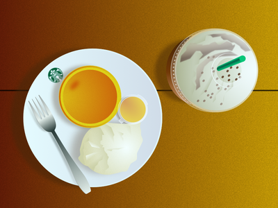 American Still Life #2 - Starbucks Table vector illustration flat design