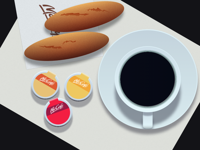 Still Life - Mcdonald's Table vector illustration flat design