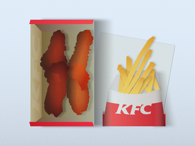 Still Life - KFC Table vector illustration flat design