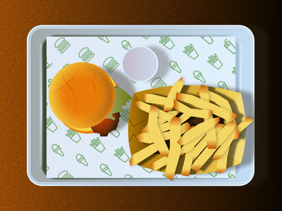 Still Life - Shake Shack Table vector illustration flat design