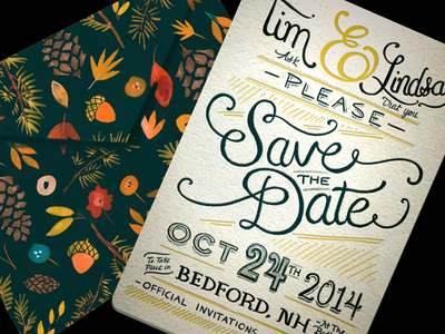 Save the Date save the date letterpress invitation typography handlettered lettering envelope invite wedding engagement