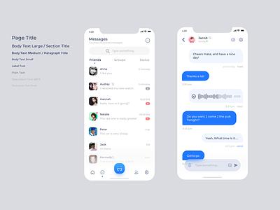 IM app screen shoots social app social media design chat chat app ux design mobile ui react native react app development app mobile ui