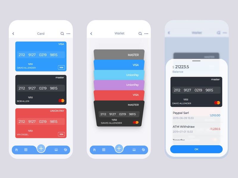 bank cards mobile mobile ui app
