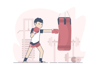Time for Workout character illustration bukalapak