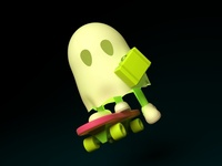 Little ghost with his skateboard