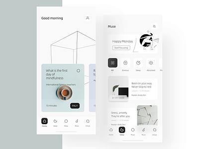 Muse concept design 🧠 color card product-design animation meditation dragonlee ux icon app ue ui concept