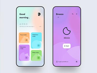 Meditation APP 🧘♀️ sleep card color meditation illustration ux icon app ue ui
