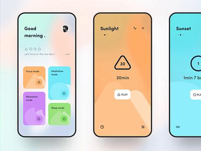 Meditation APP 🧘♂️ mobile design mobile app mobile ui mobile color card meditation animation typography app ux icon design dragonlee ue ui