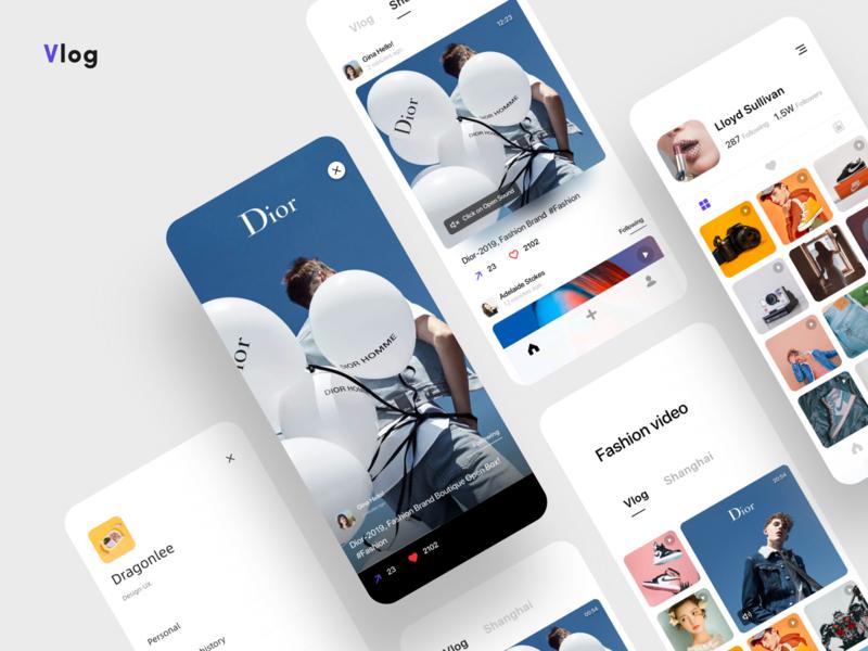 Volog APP 🦋 typography mobile branding vlogger vlog card dragonlee design icon app ue ui