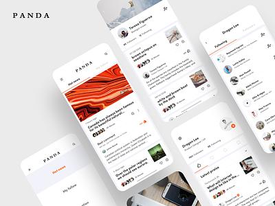 PANDA NEWS 🐼 news mobile typography card dragonlee ux design icon app ue ui