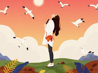 The Goddess - her world, I'm still in. grassland cloud dove book illustration goddess