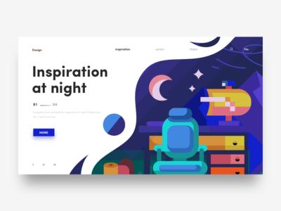 Inspiration At Night web hiwow ue design illustration invites ui