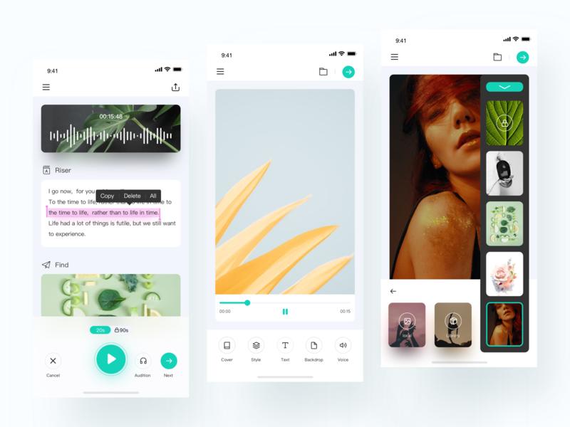 Video Editing video app beauty video app design icon ue ui video editing