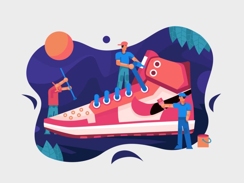 Custom AJ_1👅 dragonlee custom basketball sneakers nike jordan aj-1 aj illustration